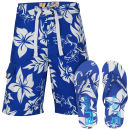 Smith & Jones Aniani Men's Swim Shorts and Flip Flops - Blue