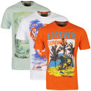 South Shore Men's 3 Pack T-Shirts - Optic White/Botanical Green/Jaffa Orange