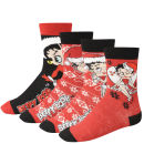 Betty Boop Women's 4-Pack Socks Gift Box  - Red and Black