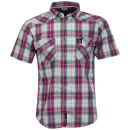 Benzini Men's Short Sleeved Check Shirt - Red
