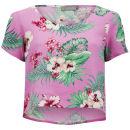 LOVE Women's Floral Crop T-Shirt - Pink