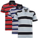Slazenger Men's Defiant 3 Pack Striped Polo Shirt - Pale Blue/Blue/Red