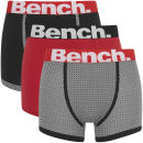 Bench Men's 3 Pack Fashion Trunks - Black/Black/Red