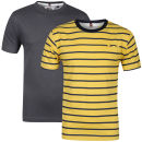 Slazenger Men's 2 Pack T-Shirts - Charcoal/Yellow