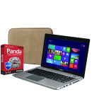 Toshiba Satellite Touchscreen Ultrabook Laptop P845T-108 (i3, 4Gb, 500Gb, 14 inch HD LED Touch) with Panda 2014 Global Protection and dBramane1928 Leather Case in Beige & Brown