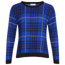 Moku Women's Checked Knit Jumper - Royal Blue