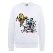 Star Wars Christmas Droids Fairly Lights Tangle Sweatshirt - White