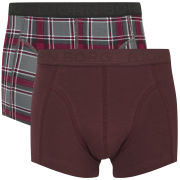 Bjorn Borg Men's Check/Solid 2 Pack Short Boxers - Phantom