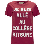 Maison Kitsune Women's College Print T-Shirt - Red