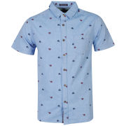 Brave Soul Men's Edgar Short Sleeve Shirt - Blue
