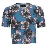 Damned Delux Women's Peony Floral Crop Top - Teal