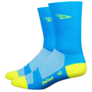 DeFeet Aireator Hi Vis Tall Socks - Blue/Yellow