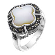 Silver Plated Mother of Pearl Ring