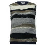 Opening Ceremony Women's Striped Fur Sleeveless Pullover - Navy Multi
