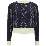 YMC Women's Cropped Cable Knit Jumper - Navy