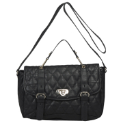 French Connection Women's Winter Quilt Large Leather Shoulder Bag - Black