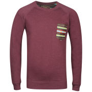 Osaka Men's Acid Wash Crew Neck Sweat - Burgundy