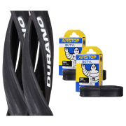 Schwalbe Durano Clincher Road Tyre Twin Pack with 2 Free Tubes - Black 700c x 25mm