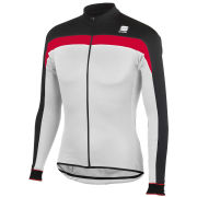 Sportful Men's Pista Long Sleeve Jersey Full Zip - White/Black/Red