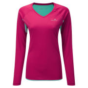 RonHill Women's Aspiration Long Sleeve Running T-Shirt Cerise/Aquamarine