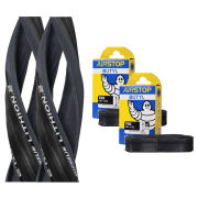 Michelin Lithion 2 Clincher Road Tyre Twin Pack with 2 Free Inner Tubes - Grey/Black 700c x 23mm