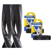 Schwalbe Durano Plus Clincher Road Tyre Twin Pack with 2 Free Tubes - Black 700c x 25mm