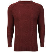 Bucks Men's Cable Crew Neck Knit - Blood Red