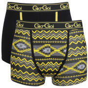 Gio Goi Men's 2 Pack Boxer Shorts - Black/Yellow