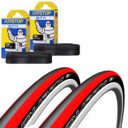 Schwalbe Durano S Clincher Road Tyre Twin Pack with 2 Free Tubes - Red 700c x 23mm