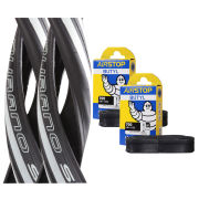 Schwalbe Durano S Clincher Road Tyre Twin Pack with 2 Free Tubes - White 700c x 23mm