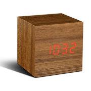 Gingko Electronics Cube Teak Click Clock