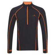 RonHill Men's Base Thermal 300 1/2 Zip T-Shirt - Black/Fluorescent Orange