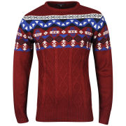 Crosshatch Men's Tranby Knitted Jumper - Deep Red