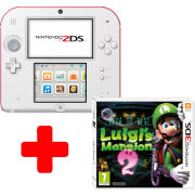 Nintendo 2DS White & Red Console: Bundle includes Luigi's Mansion 2
