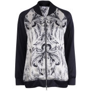 Draw In Light Women's Acid Butterfly Silk Bomber Jacket - Bleach On Black