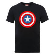 Marvel Avengers Assemble Captain America Simple Symbol Men's T-Shirt - Black