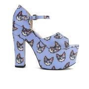 Markus Lupfer Women's Printed Leather Platform Sandals - Light Blue