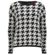 HUGO Women's Sabah Houndstooth Knit Jumper - Natural