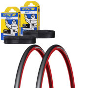 Schwalbe Lugano Clincher Road Tyre Twin Pack with 2 Free Inner Tubes - Blue 700c x 23mm