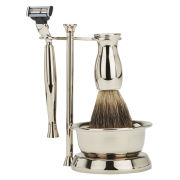 Taylor of Old Bond Street Mach 3 Razor and Pure Badger Brush Shaving Set in Nickel with Bowl