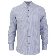 Antony Morato Men's Slim Shirt with Tape Inside - Striped Fly Royal