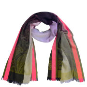 Codello Women's Winter Wonderland Paisley Neon Border Jacquard Scarf - Multi