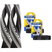 Michelin Pro 4 Endurance Clincher Road Tyre Twin Pack with 2 Free Inner Tubes - Grey 700c x 23mm