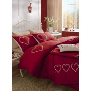 Catherine Lansfield Decorative Hearts Bedding Set - Red