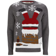 Threadbare Men's Chimney Santa Knitted Jumper - Charcoal Marl