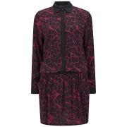 Gestuz Women's Snake Silky Shirt Dress - Red/Black
