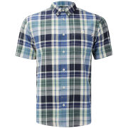 Farah 1920s Men's Brandon Button Down Short Sleeve Shirt - Deep Indigo