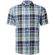 Farah 1920s Men's Brandon Button Down Short Sleeve Shirt - Deep Indigo