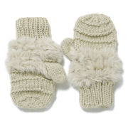 French Connection Helda Knit and Faux Fur Mittens - Cream