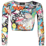 AX Paris Women's Street Print Long Sleeve Crop Top - Multi